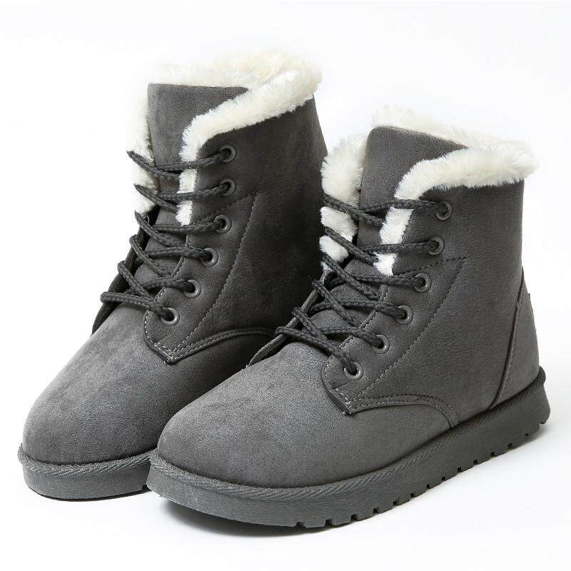 2018 New Women Snow Boots Faux Fur Lined Ankle Booties Lady Flock Leather Winter Boots Plus Size Women Casual Warm Winter Shoes Ankle Boots Shoes