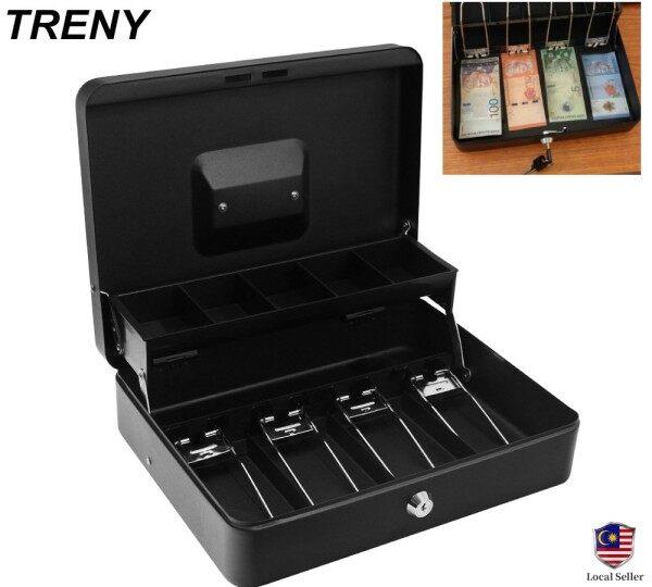 TRENY Steel Black Double-Layer Cash Register Petty Slotted Cash Box -M5JB