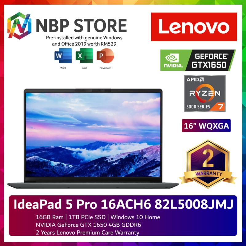 Lenovo IdeaPad 5 Pro 16ACH6 82L5008JMJ 16 WQXGA Laptop Storm Grey ( Ryzen 7 5800H, 16GB, 1TB SSD, GTX1650 4GB, W10, HS ) Malaysia