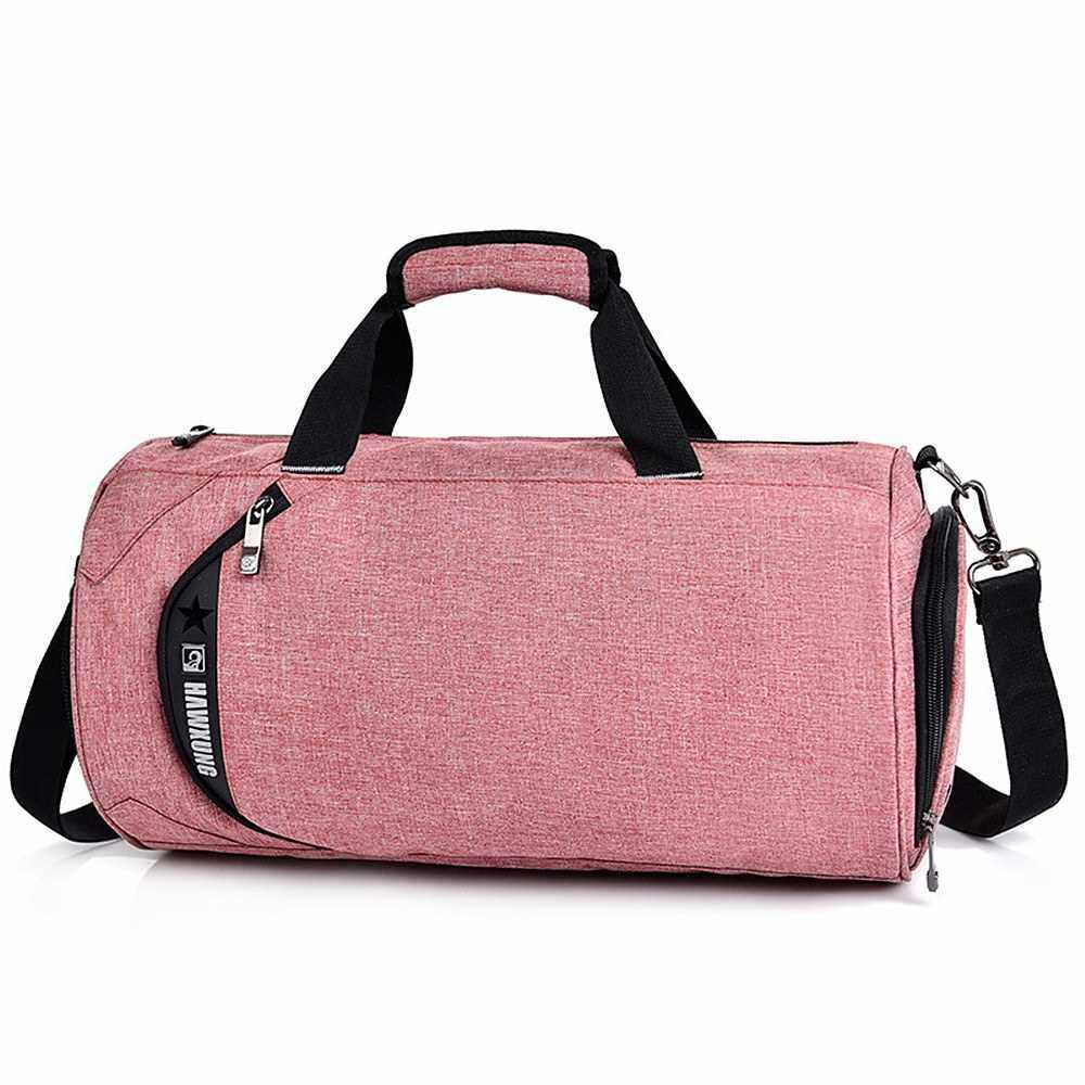 Sports Gym Bag with Separate Wet Pocket and Shoes Compartment Travel Duffel Bag Weekender Bag Handbag for Men and Women (Pink)