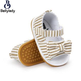 BellyLady Giày Bé Gái, Xăng Đan Thắt Nơ Vải Cotton Đế Mềm Mùa Hè thumbnail