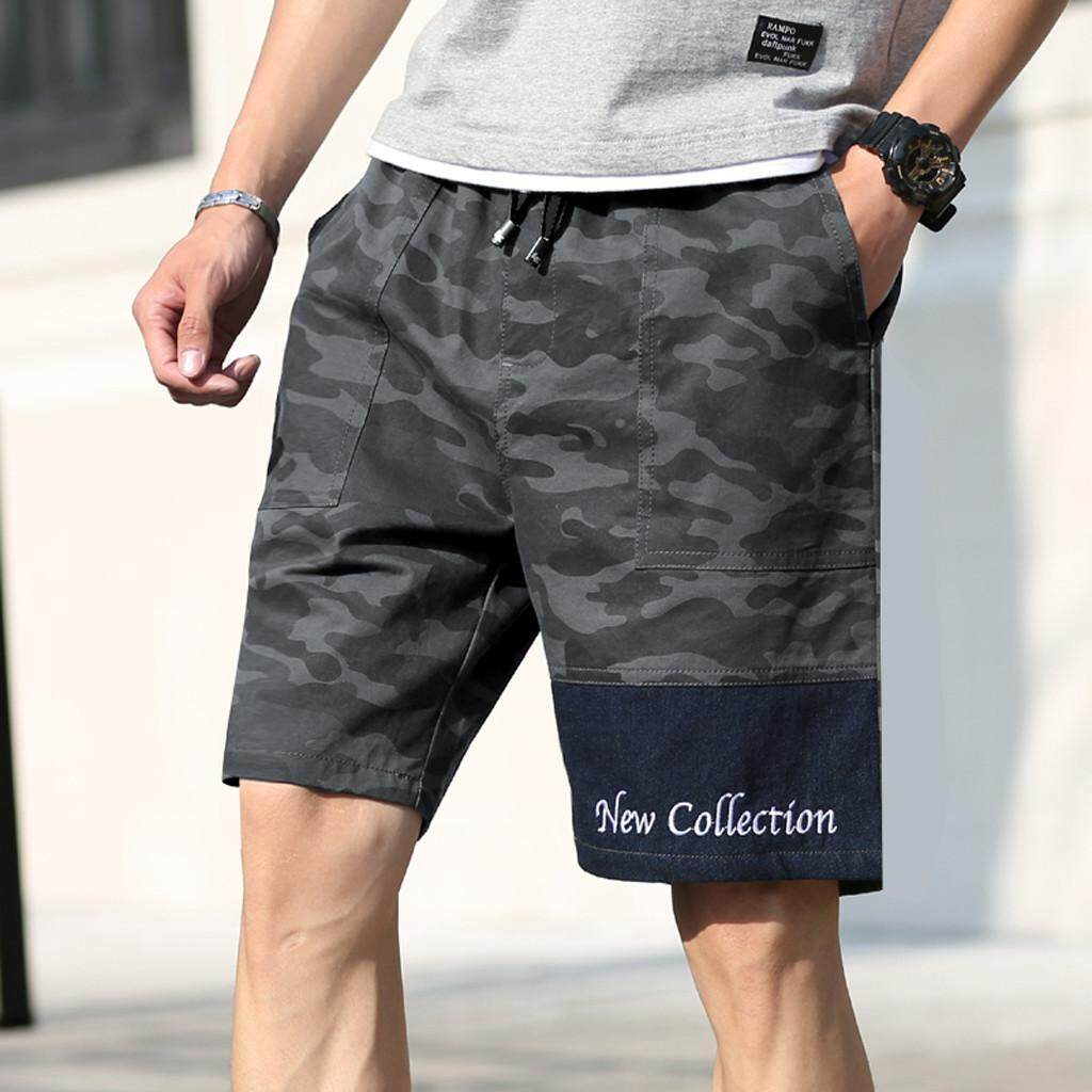 (BAIBAO)Men's New Summer Casual Loose Patchwork Camouflage Printing Beach Shorts Pants