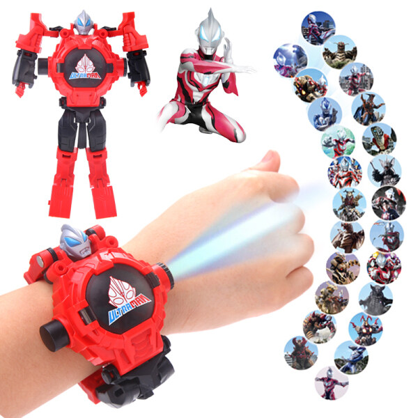 Ultraman Sailor deformation childrens electronic watch toy student projection cartoon transformation robot boy boy Malaysia