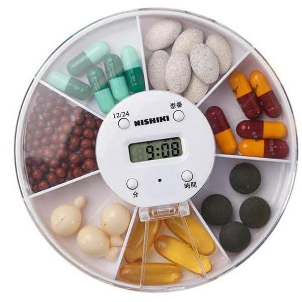 1* Convenient Travel Tool Alarm Clock Timer Portable Pill Tablet Medicine Case Pill Splitter Pill Box