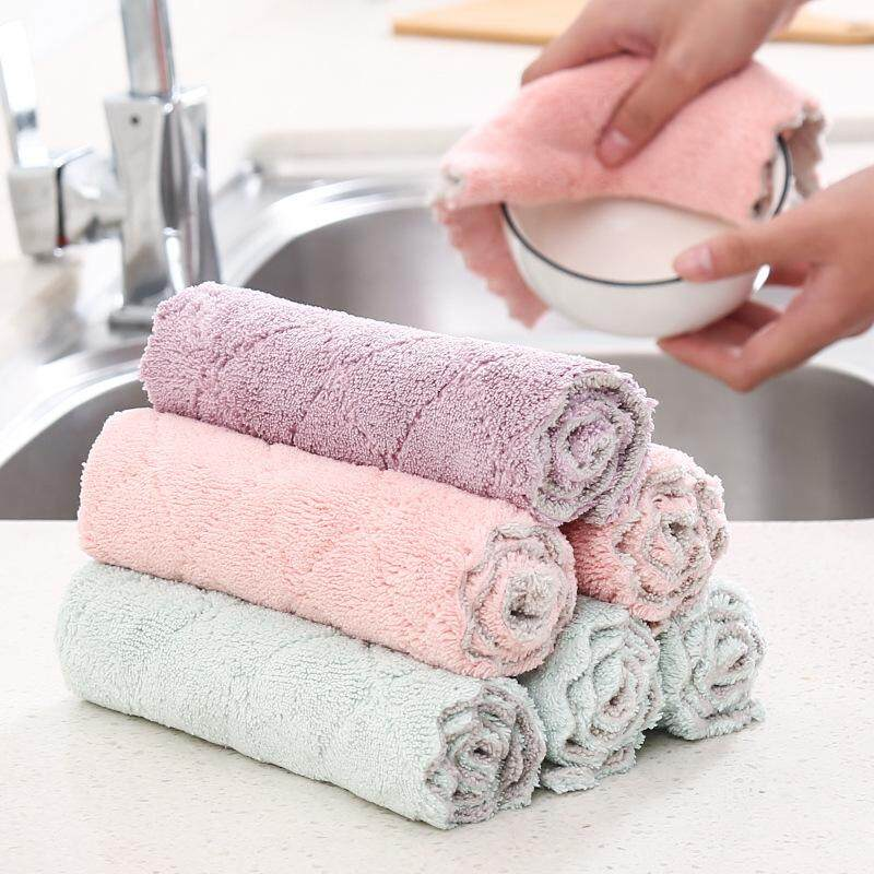 Tfs 12pcs Super Absorbent Microfiber Kitchen Dish Cloth High-Efficiency Tableware Household Cleaning Towel By The First Store.