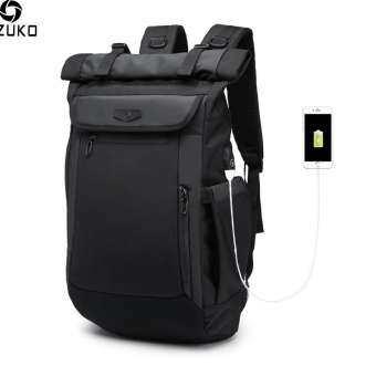 OZUKO กระเป๋าเป้สะพายหลังผู้ชายใหม่ USB เอนกประสงค์ชาร์จกระเป๋าแล็ปท็อปกระเป๋านักเรียนแฟชั่น-