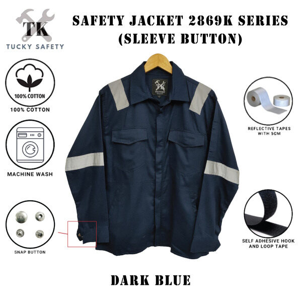 SIZE S - 3XL PPE NK SAFETY JACKET WITH SLEEVE BUTTON / BAJU KERJA / CLOTHES 2869K - DARK BLUE