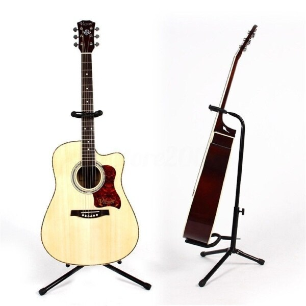 Ready Stock Collapsible Portable Iron Tripod Guitar Stand with Protective Rubber Padding Height Adjustable Malaysia
