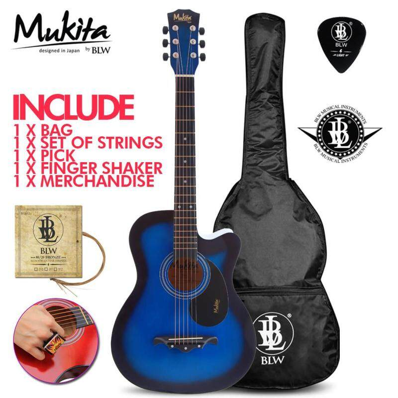 Mukita by BLW Standard Acoustic Folk Cutaway Basic Guitar Package 38 Inch for beginners with Bag, Pick, Finger Shaker and Merchandise Sticker (Blue) Malaysia