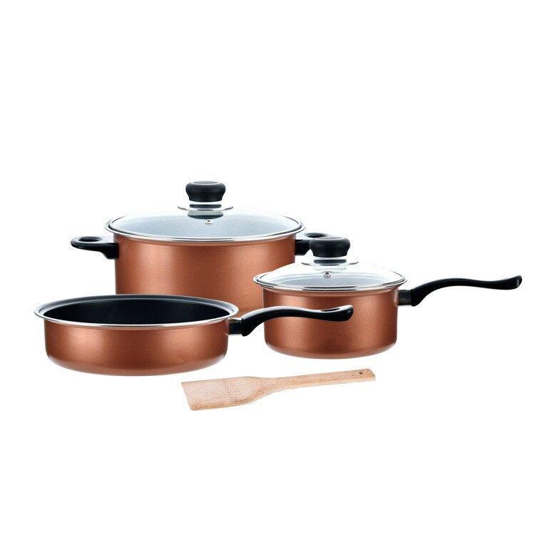 Non-Stick Cookware Wok & Pan Set (5 Pcs)-Gold