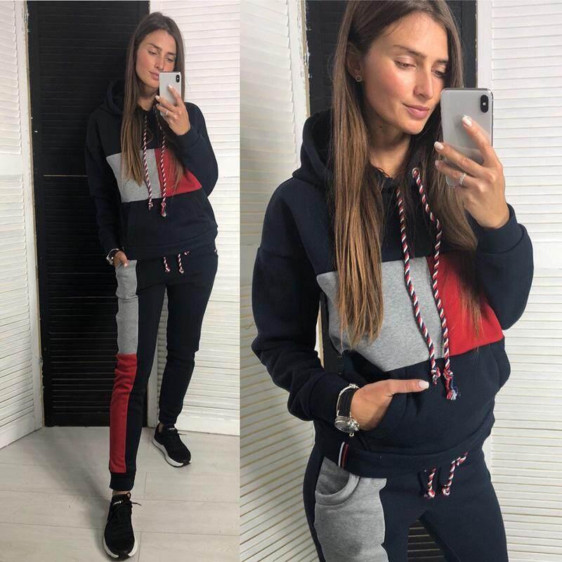 5ca560da41 Autumn Winter Sport Suits Women Tracksuits Hooded Zipper Pullover Patchwork  Top Sweatshirt Pants Running Set Jogging 2pcs Fitness Casual Thick ...
