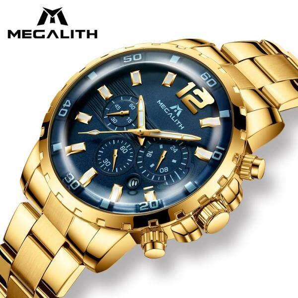 [RAYA SALE] Jam tangan lelaki MEGALITH Luxury Gold Watch for Man Waterproof Chronograph Quartz Men Watches Stainless Steel  jam tangan watches Clock Malaysia