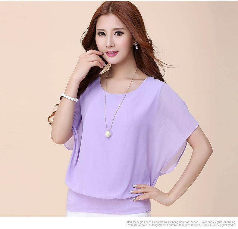 Yta Fashion Summer Women Ladies Casual Plus Size Short Sleeve Chiffon T-Shirt Tops By Just Waiting International Mall.