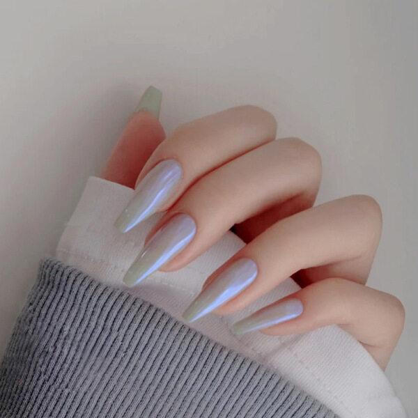 Bộ 24 móng tay giả màu cực quang độc đáo kiểu dáng dài nhọn chất liệu acrylic thích hợp đi đám cưới hẹn hò hàng ngày - INTL