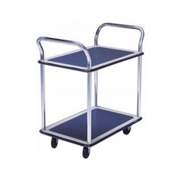MS104 Double Deck Dual Handle Metal Platform Trolley Load Capacity 150kg