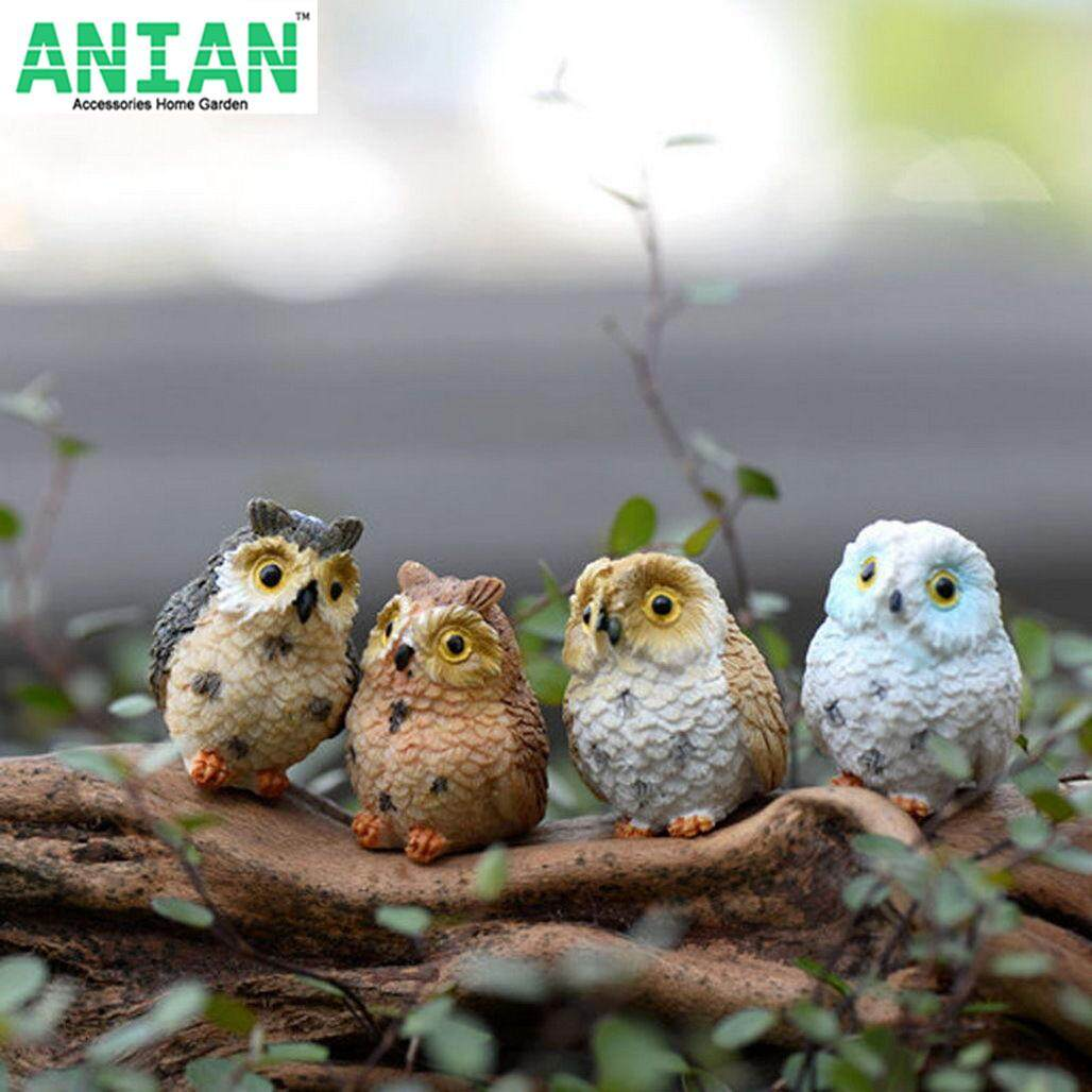 ANIAN 4PCS Miniature Owls Fairy Garden Bonsai Craft Terrarium Figurine Landscape Creative