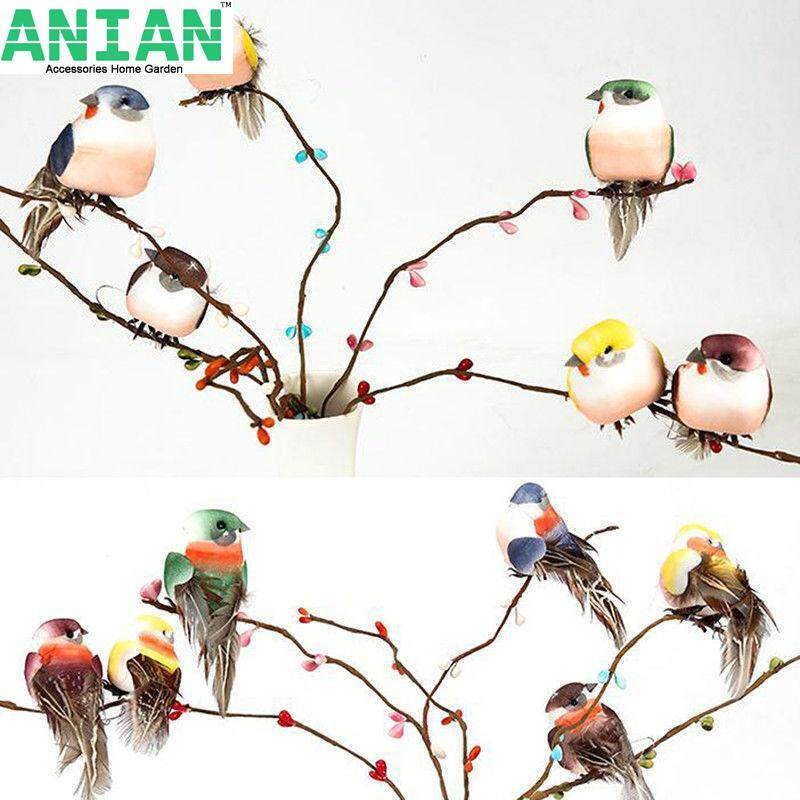 ANIAN 15PCS Mini fake birds artificial feather foam doves wedding decoration venue orname PR