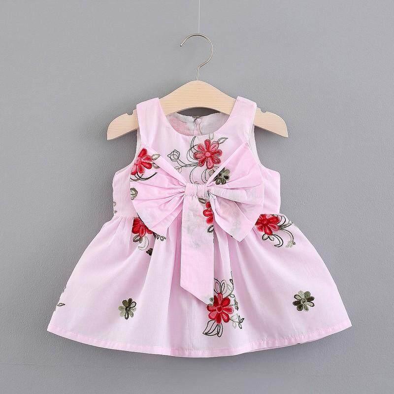 Giá bán Nơ Váy Đầm Cho Bé Gái Sơ Sinh Trẻ Em Cho Bé Gái Đầm Không Tay Quần Áo Mùa Hè Sundress Đồ Em Bé
