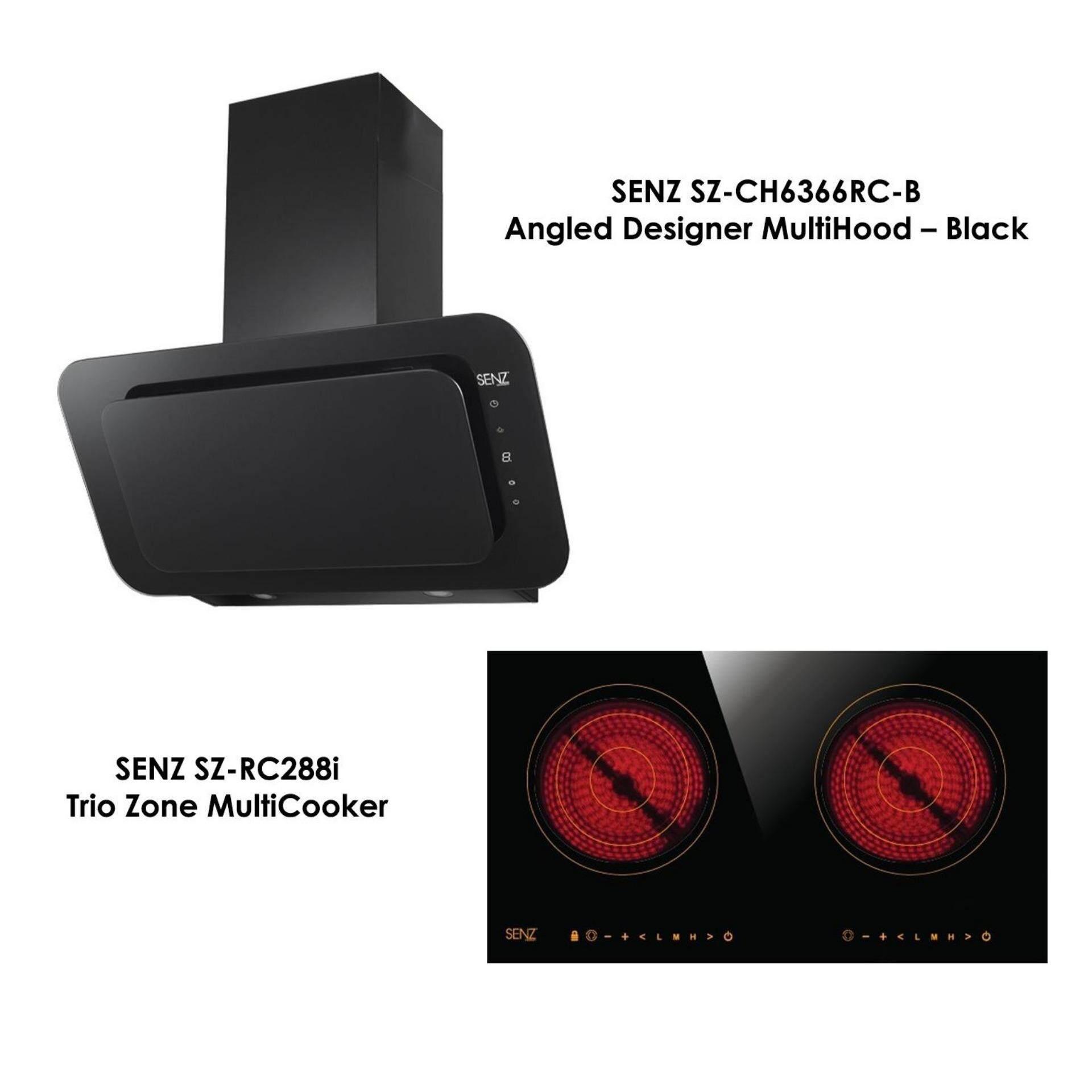 SENZ SZ-CH6366RC-B Angled Designer MultiHood 1300 m3/h Black + SENZ SZ-RC288I Trio Zone MultiCooker