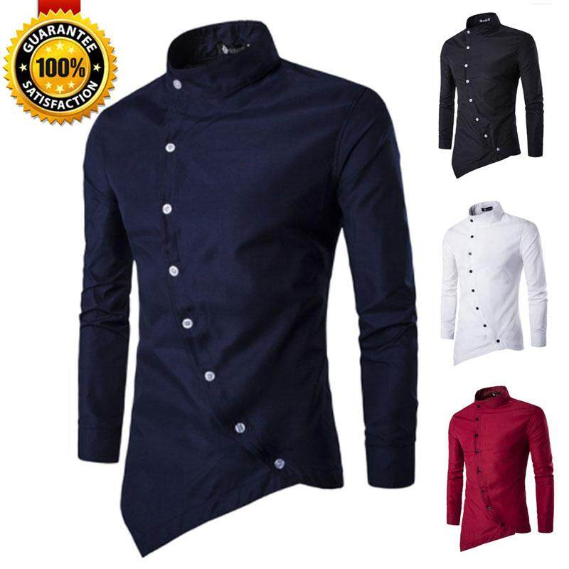 0d603522da41 QQ Mens Casual Irregular Silm Fit Long Sleeve Shirt Blouse Tops T-shirt 【READY