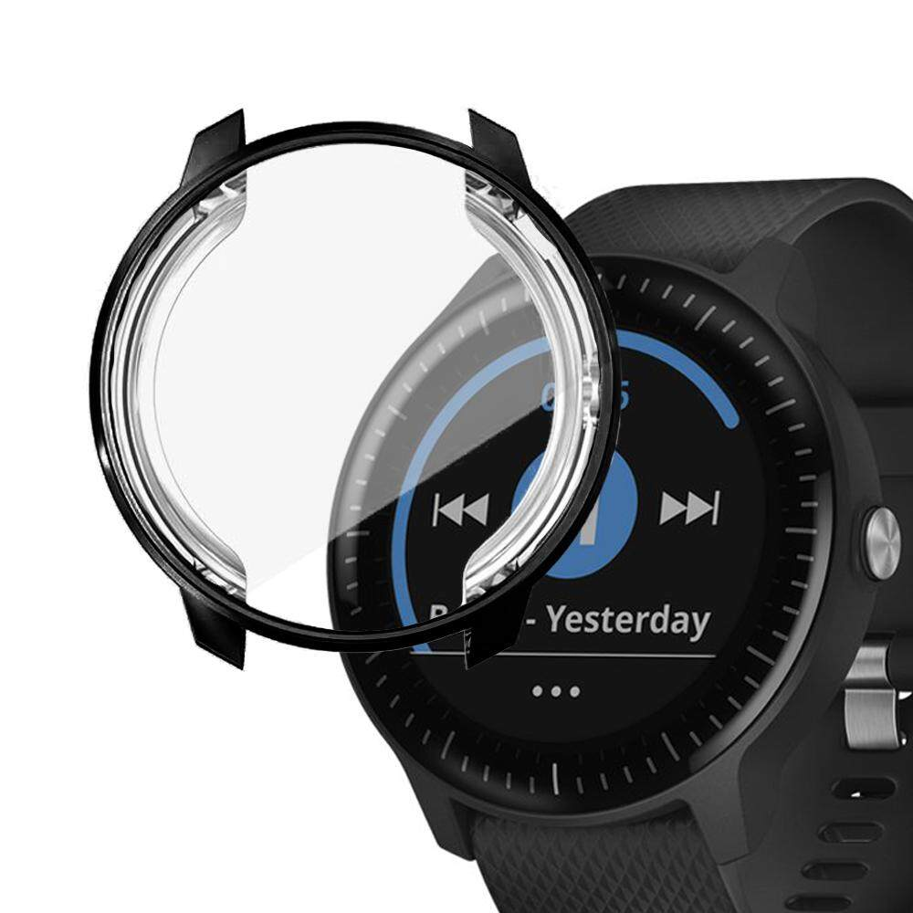 Meteqi Full Coverage Cases for Smartwatch Tempered Glass Screen Protectors,  Specifically for Garmin Vivoactive 3 Music, Waterproof Dustproof