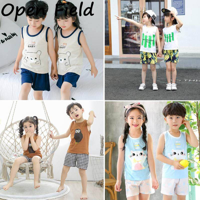 Field Boys Girls 2pcs/set Home wear Casual Soft Tops + Pant Pajamas Suit For Children 2-10 yrs