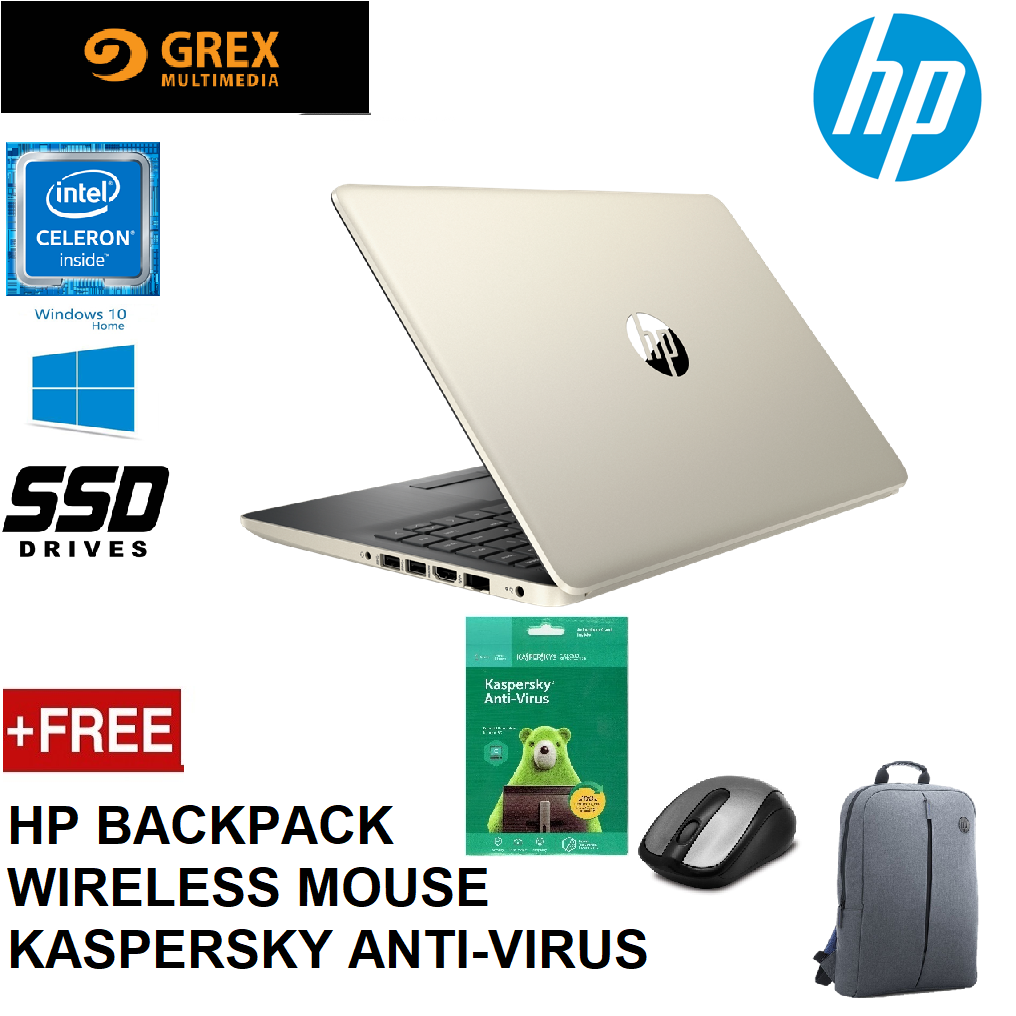 HP 14S-CF0064TU / 14S-CF0125TU LAPTOP (CELERON N4000,4GB,256GB SSD,14  WIN10 HOME,1 YEAR ONSITE) FREE BACKPACK + WIRELESS MOUSE + KPSKY ANTI-VIRUS Malaysia