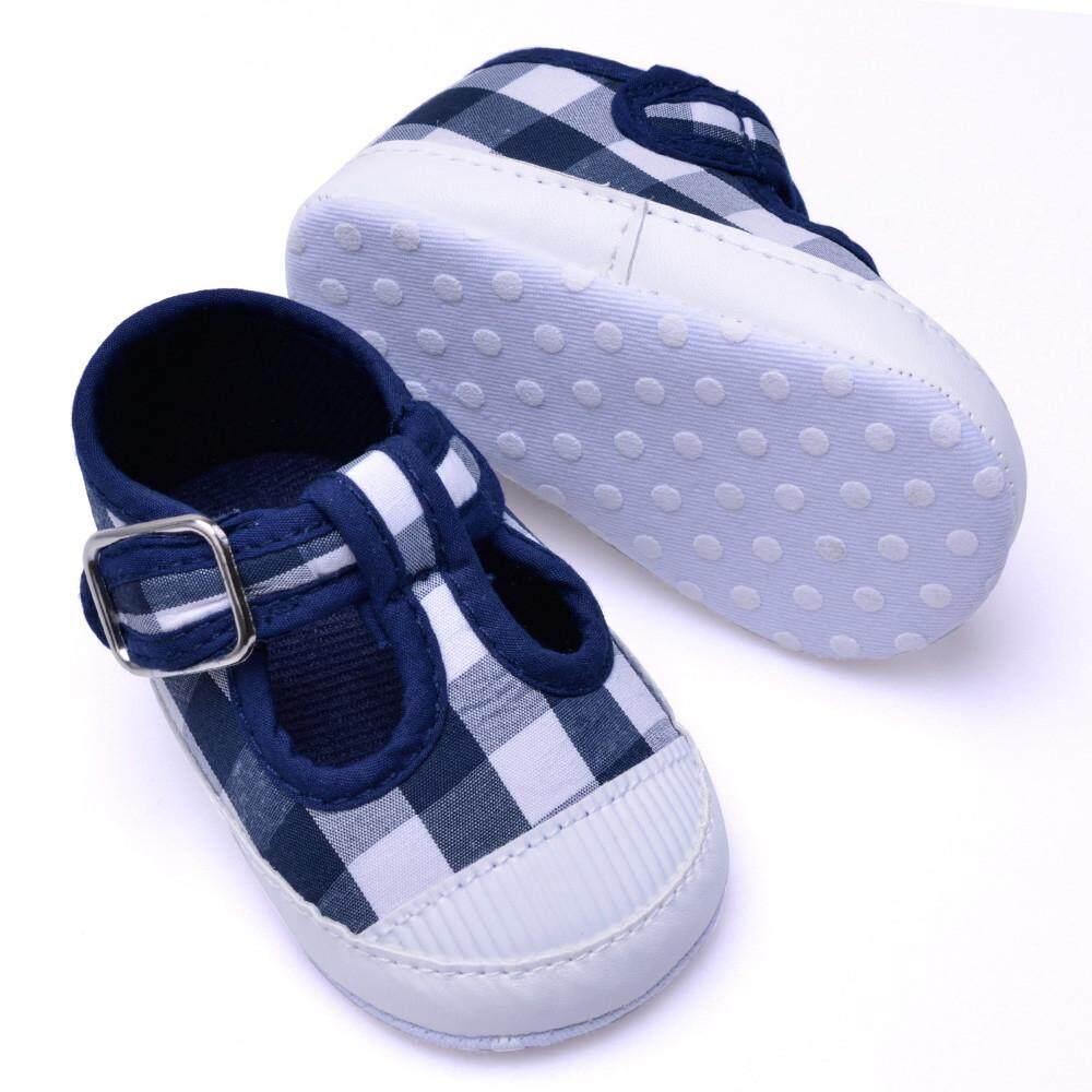 Goldenfashionie Anak Bayi Perempuan Anak Sepatu Bayi Baru Lahir Anak Laki-laki Anak Perempuan Anti-Slip Sepatu Grid Alas Kaki Bayi Sepatu Kets Berbahan Kain Kanvas