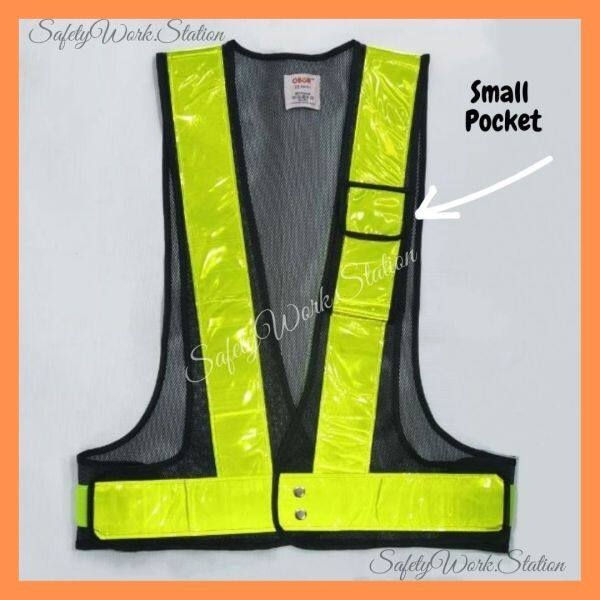 SAFETY VEST BLACK NETTING WITH 1x POCKET C/W YELLOW REFLECTOR