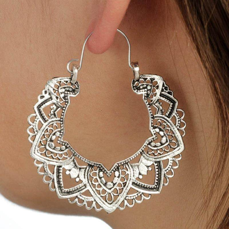 Candy Womens Vintage Openwork Pattern Hoop Earrings Jewelry Accessories By Mycsndice.