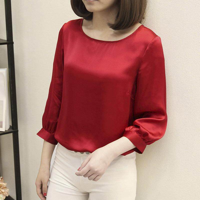 Womens Loose Shirts Short Sleeve Crew Neck T Shirt Casual Pure Color Slim Tops