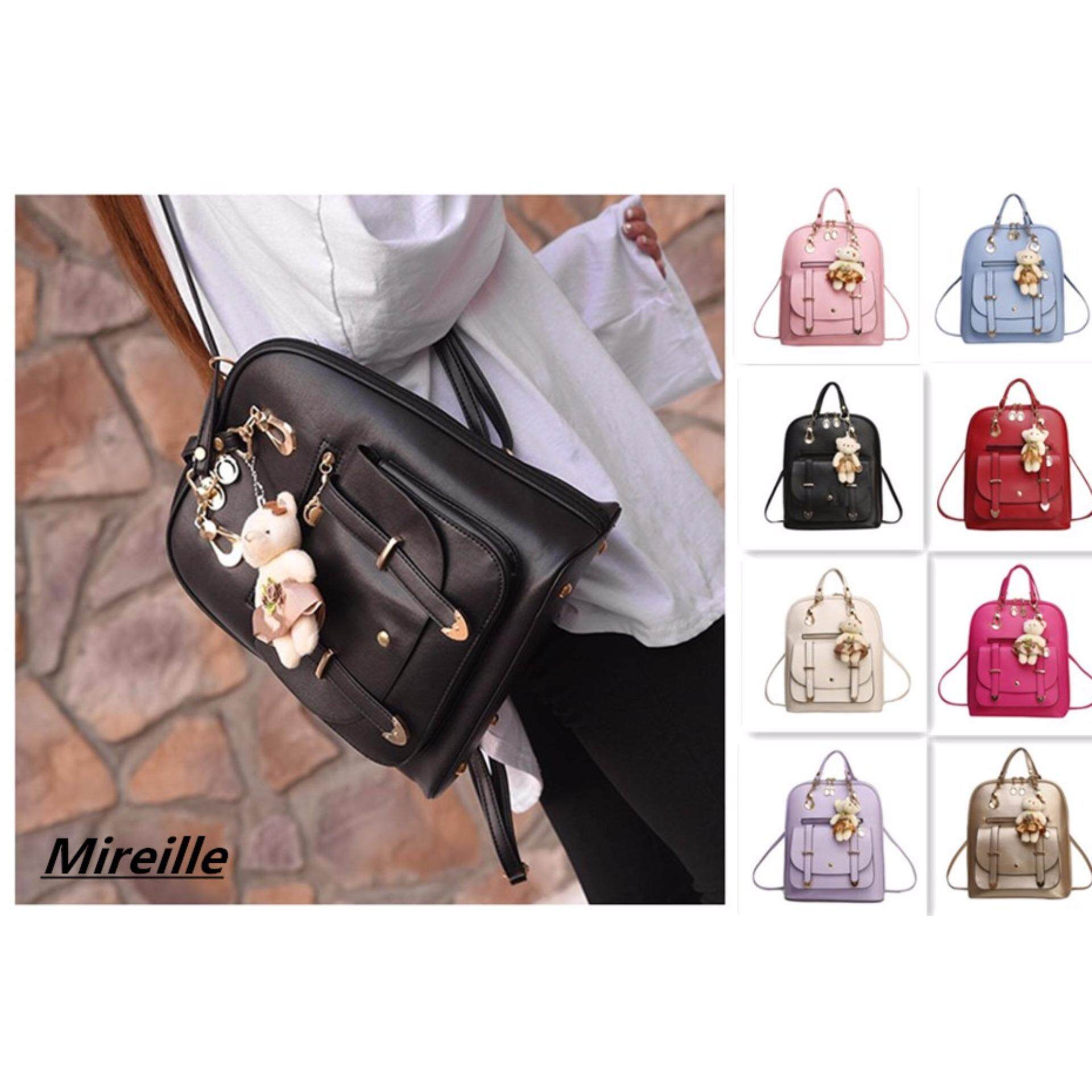 0400678f01 Fashion 8 Colors Women Student Preppy Style Bear Pendant Bookbag Backpack
