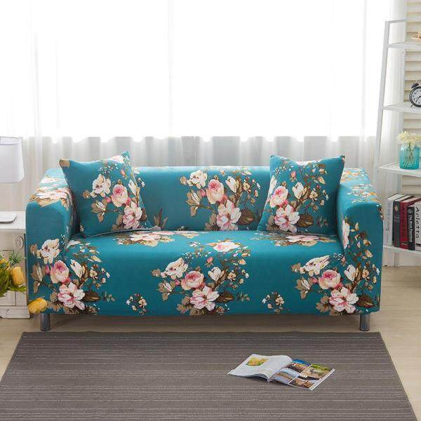 Sofa Cover 1/2/3/4 Seater Slipcover Sofa Anti-Skid Stretch Protector L shape Sarung Couch Slip Cushion one sofa cover one free pillow case with foam stick