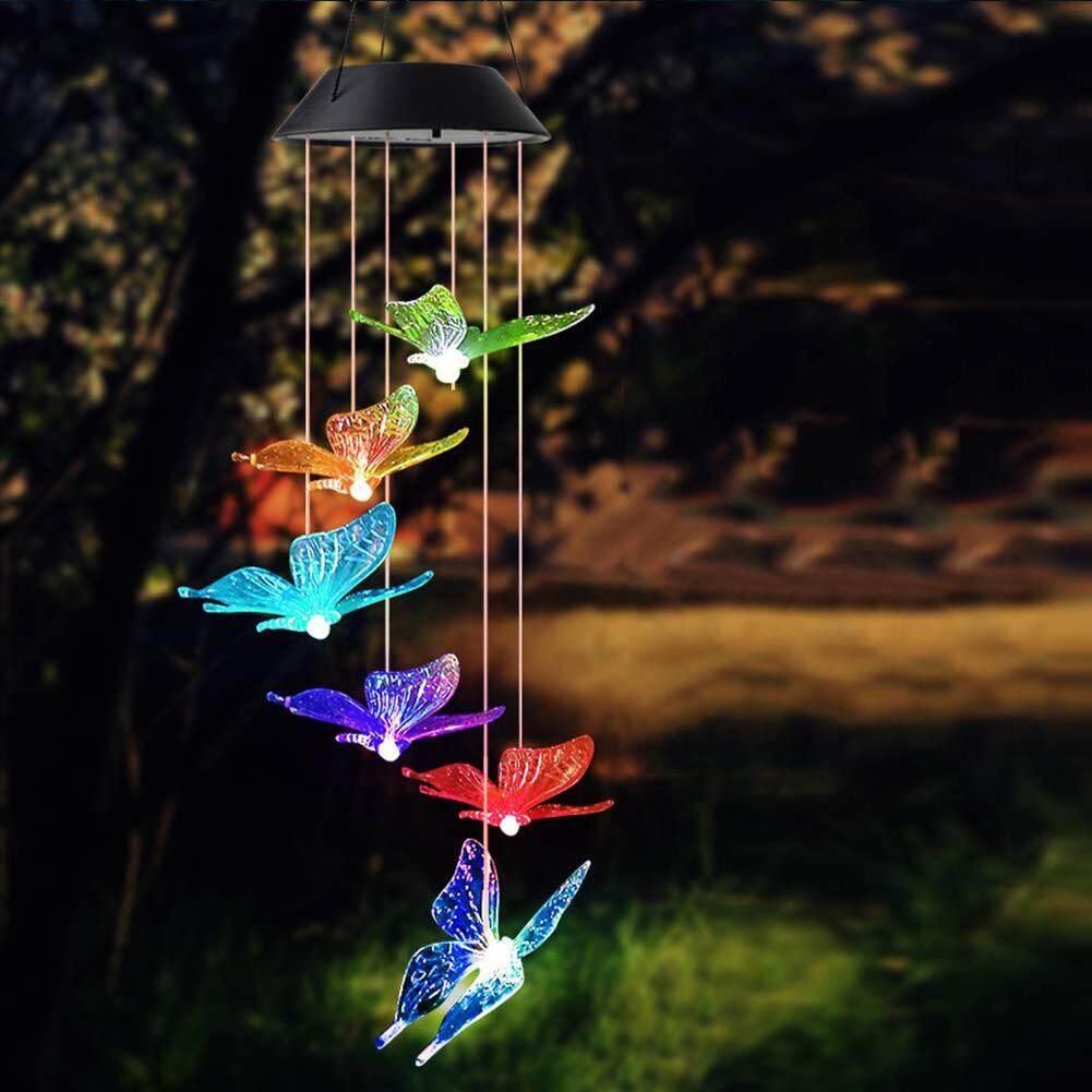 Chạy Bằng năng lượng mặt trời Đèn LED Đổi Màu Bướm Chuông Gió Đa Năng Lượng Mặt Trời Di Động Chống Nước Tự Động Cảm Biến Ánh Sáng Ngoài Trời Trang Trí (bướm)