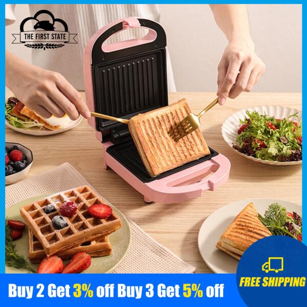 Máy Làm Bánh Sandwich Điện Mini Máy Làm Đồ Ăn Sáng Đa Chức Năng Máy Nướng Bánh Mì Hai Mặt Không Dính Nướng Màu: Hồng/Đỏ SA065