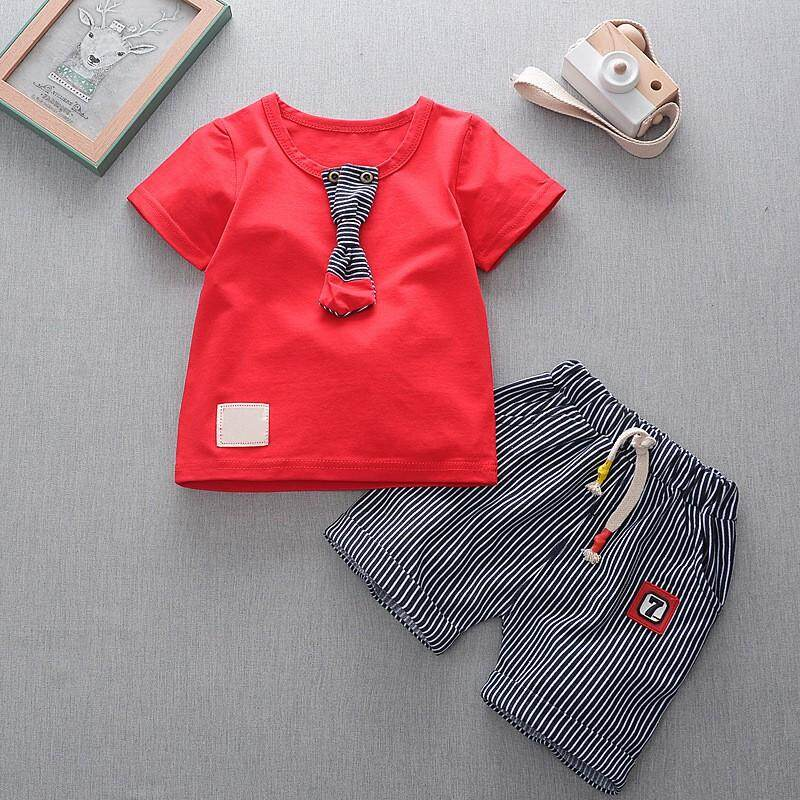 Kids Stripe Shorts Toddler Fashion Clothes Set By Ropalia Store.