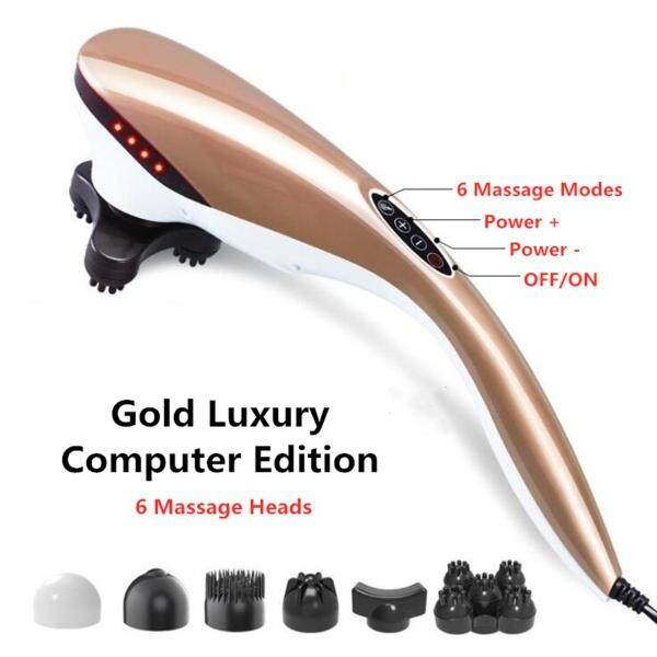 Buy Handheld Electric Massager Back Neck Foot Vibrating Therapy Machine with 6 parts Handheld Electric Vibrating Neck Back Massager Relax Body Foot Dolphin Therapy #Gold Singapore