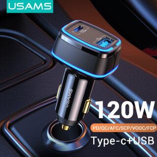 USAMS Bộ Sạc Xe Hơi Nhanh Hai Cổng 120W, 100W Loại C PD3.0 + USB QC3.0 Dành Cho Samsung AFC Huawei Bộ Sạc PD Cho iPhone 12 X Xs 8 thumbnail