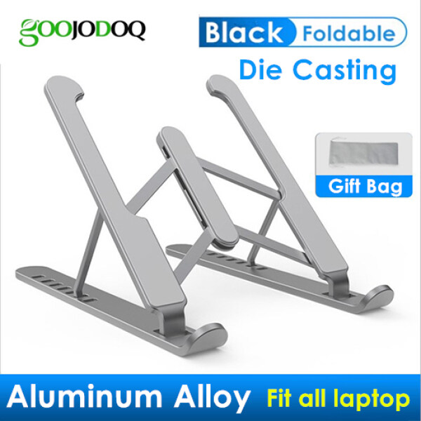 GOOJODOQ Adjustable Foldable Laptop Stand Non-slip Aluminium Alloy Notebook Holder Laptop Stand For Macbook Pro Air iPad Pro Silicone