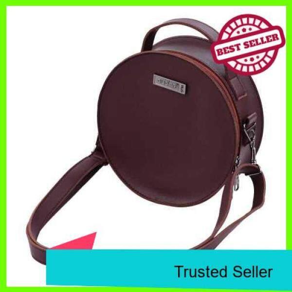 Portable Stylish Thumb Piano Soft Case PU Leather Circle Shape Kalimba Storage Bag Multi-Functional Round Gig Bag with Adjustable Strap Dark Brown (Dark Brown) Malaysia