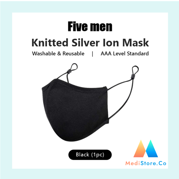MediStore.Co Five Men Knitted Silvered Ion Mask /  Washable & Reusable mask/ Anitbacterial Technology Mask/ Fabric Mask