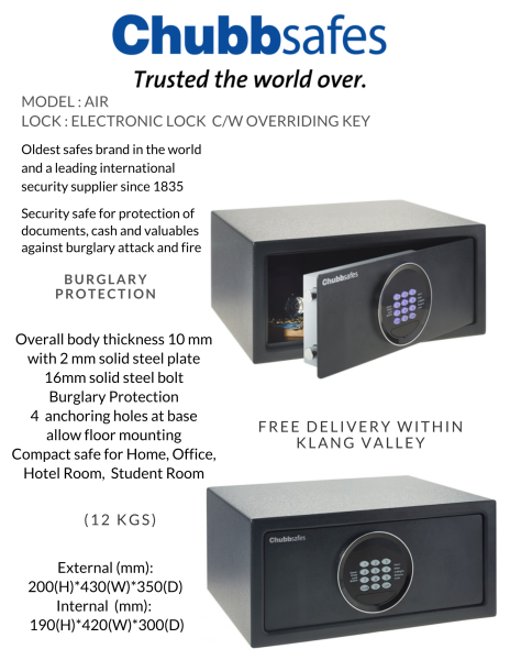 Chubbsafes Air : Hotel & Home Compact Safe Box (保险箱)