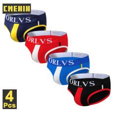 CMENIN ORLVS 4 Cái Cotton Plain Eo thấp Đồ lót Đàn ông Jockstrap Tóm tắt phổ biến Quần lót nam Quần lót OR01