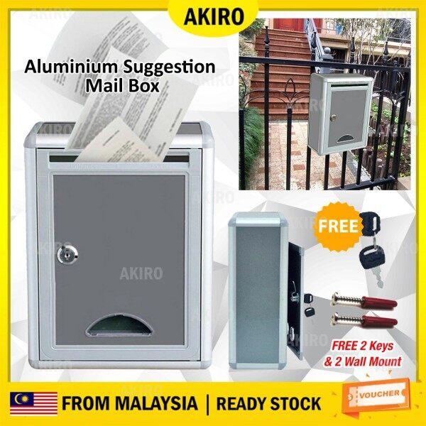 AKIRO Malaysia Aluminium Mailbox Suggestion Letter Box wt Security Lock Key Outdoor Waterproof Post Newspaper Durable Home Office
