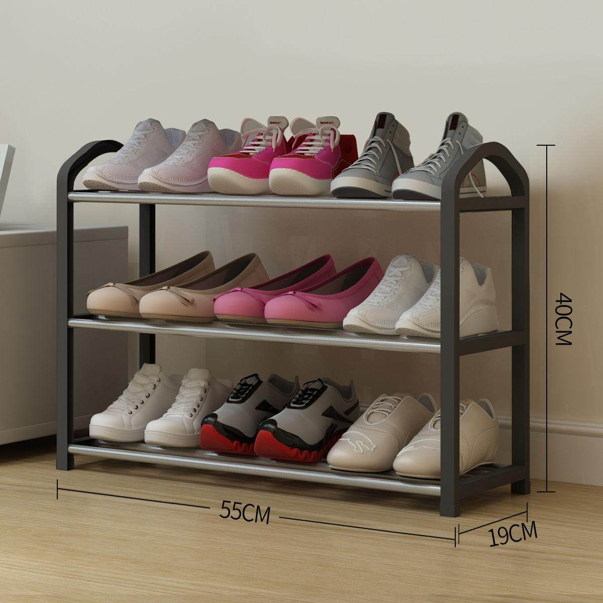 Easy assembly multi-layer shoe rack home economic stainless steel pipe + plastic assembly door storage shoe cabinet special offer black
