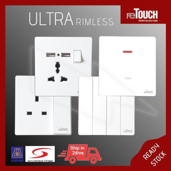 [WHITE SERIES]  reTouch Ultra Rimless 13Amp 15Amp 13Amp_Multiple USB Sockets & 1Gang 2Gang 3Gang 4Gang TV TEL Astro Cat5e Cat6 Doorbell Autogate Switches