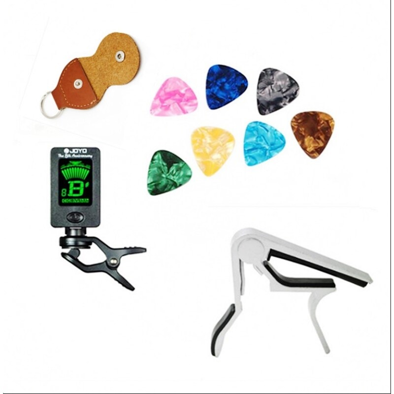 Tool Kit Guitar Tuner + Capo + Plectrum Holder + 8 Celluloid Picks Tuning Capotraste Mediator Case Guitarra Parts Accessories Malaysia