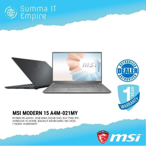 MSI MODERN 15 A4M-021MY (RYZEN R5-4500U, 8GB RAM, 512GB SSD, 15.6 FHD, WIN 10 HOME, 1YEAR WARRANTY, CARBON GREY) MSI SLEEVE BAG Malaysia