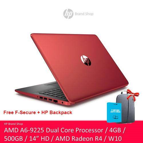 HP  14-CM0087AU / 14-CM0088AU 14 HD Notebook (AMD A6-9225, 500GB, 4GB, AMD Radeon R4, W10) - (Black/Red) [Free HP Backpack + F-Secure 1 Year Client Security] Malaysia