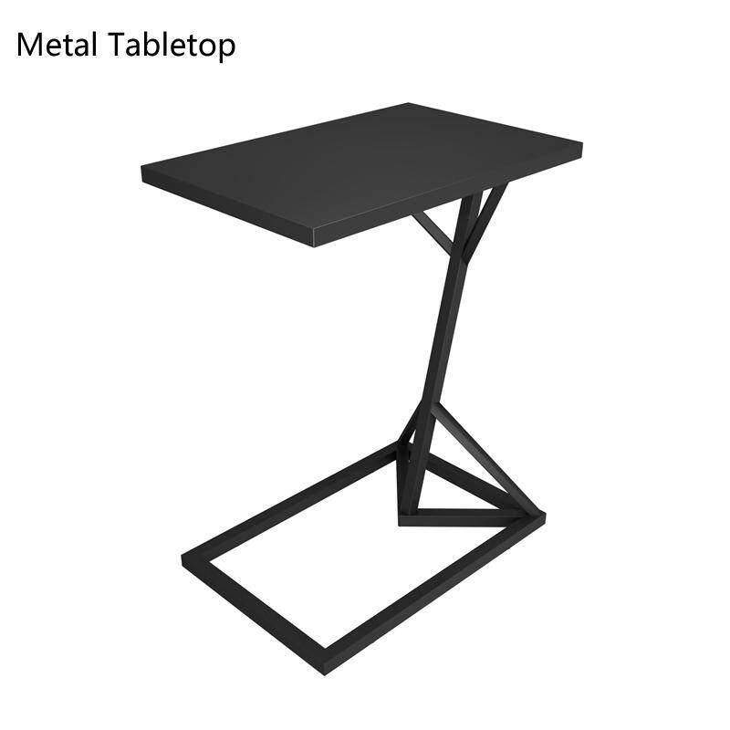 RuYiYu - Vintage Snack Side Table, Mobile End Rectangle Table for Coffee Laptop Tablet, Slides Next to Sofa Couch, Metal Tabletop Furniture with Metal Frame